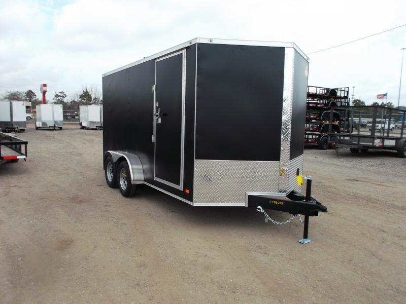 "2021 Covered Wagon Trailers 7x14 Tandem Axle Cargo Trailer / Enclosed Trailer / 6'6"" Interior / Ramp / LEDs / Black Powder Coat Skin / Semi-Screwless Exterior"