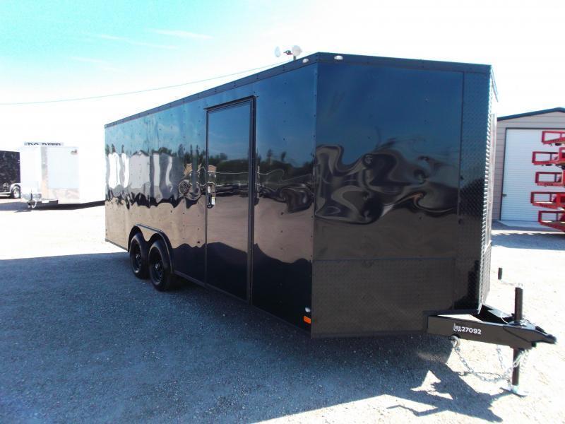 SPECIAL - 2022 Peach Cargo 8.5x20 Tandem Axle Cargo / Enclosed Trailer / Car Hauler / 5200# Axles / 7ft Interior / Ramp / RV Door / LEDs / Black Out Package