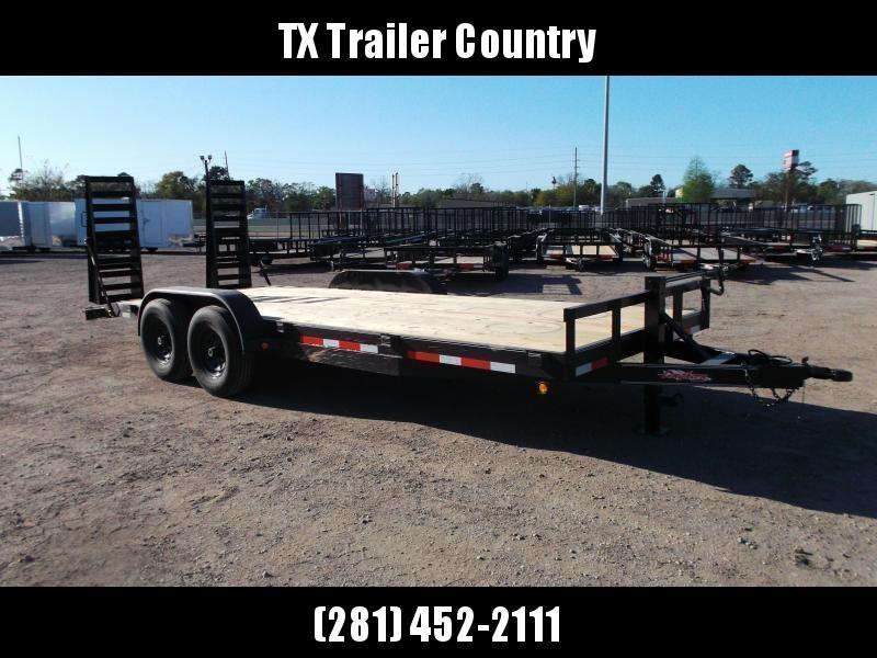 2022 Longhorn Trailers 83x20 Tandem Axle 14K Car Hauler / Equipment Trailer / Flat Deck / 7000# Axles / 10K Jack / 2ft Dovetail / 5ft HD Stand Up Ramps