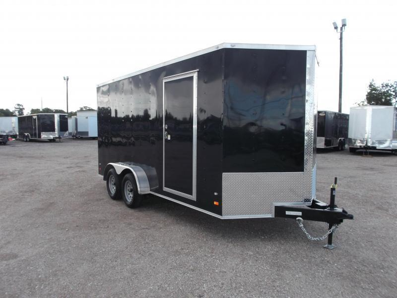 "2021 Covered Wagon Trailers 7x16 Tandem Axle Cargo Trailer / Enclosed Trailer / 6'6"" Interior / Ramp / RV Door / LEDs"