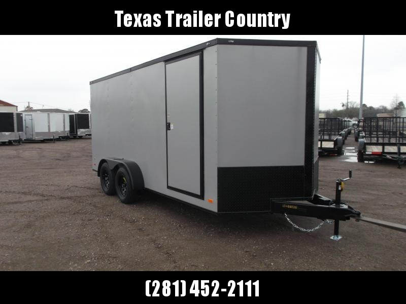 """2021 Covered Wagon Trailers 7x16 Tandem Axle Cargo Trailer / Enclosed Trailer / 6'3"""" Interior / Ramp / RV Door / LEDs / Silver Powder Coated Skin / Semi-Screwless Exterior / Black Out Package"""