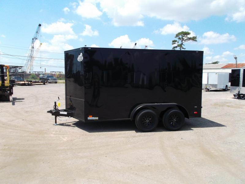 2021 Covered Wagon Trailers 7x12 Tandem Axle Motorcycle Trailer / Cargo Trailer / Black Out Package / Ramp / LEDs
