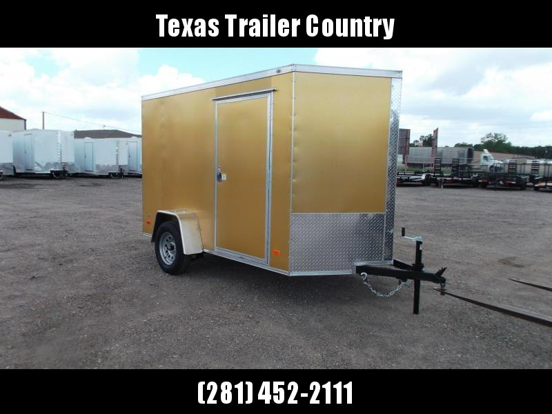 """2021 Covered Wagon Trailers 6x10 Single Axle Cargo Trailer / Enclosed Trailer / Ramp / 6'3"""" Interior / RV Side Door / LEDs / Gold Semi-Screwless Exterior"""