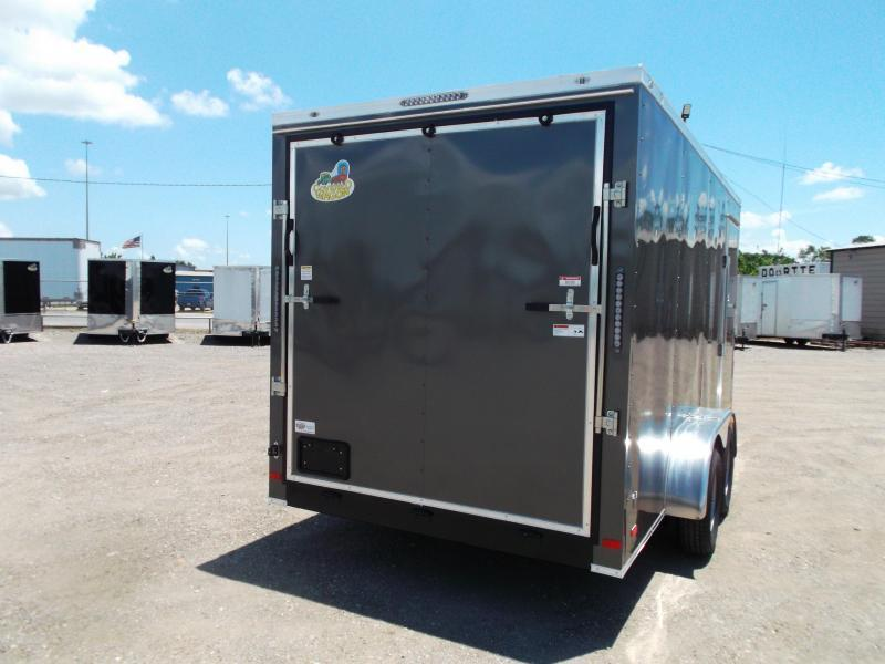 "2021 Covered Wagon Trailers 7x16 Tandem Axle Cargo Trailer / Enclosed Trailer / 6'3"" Interior / Ramp / RV Door / LEDs / CHARCOAL GRAY Semi-Screwless Exterior"