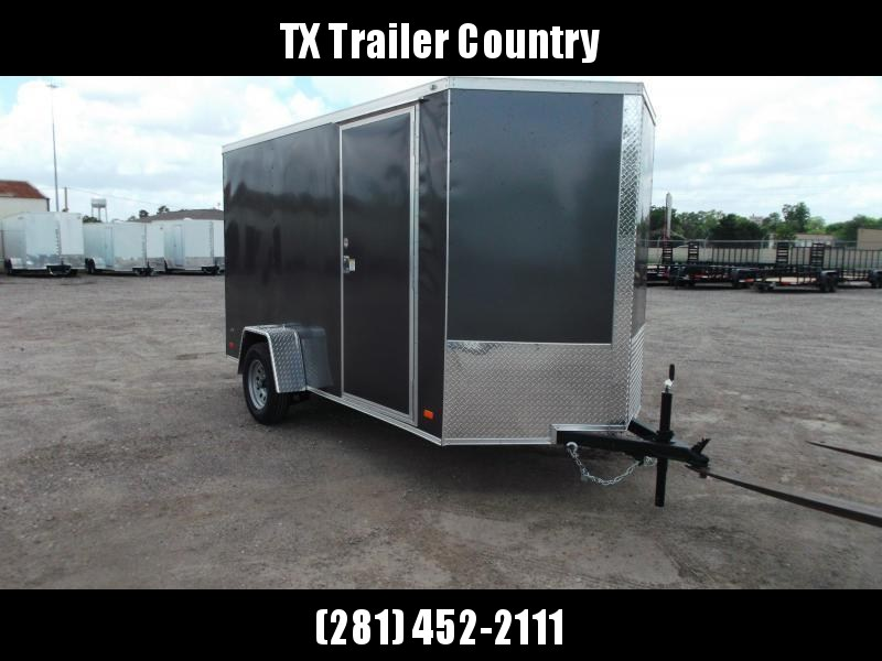 """2022 Covered Wagon Trailers 6x10 Single Axle Cargo Trailer / Enclosed Trailer / 6'3"""" Interior Height / Ramp / RV Side Door / LEDs / Charcoal Gray Semi-Screwless Exterior"""