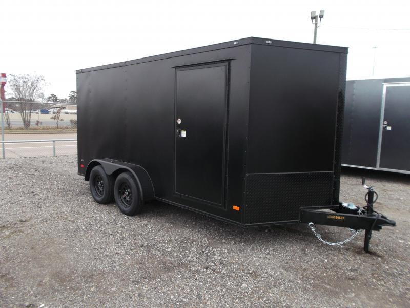 "2021 Covered Wagon Trailers 7x14 Tandem Axle Cargo Trailer / Enclosed Trailer / 6'3"" Interior / Ramp / LEDs / Black Powder Coat Semi-Screwless Exterior / Black Out Package"