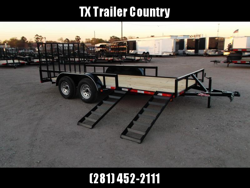 2022 Longhorn Trailers 83x16 Utility Trailer / ATV Trailer w/ 4ft Rear Ramp Gate / 5ft Slide Out Side Ramps