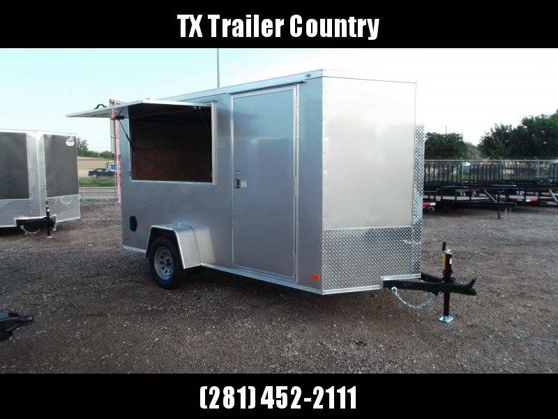 """SPECIAL - 2022 Covered Wagon Trailers 6x12 Single Axle Concession Trailer / Vending Trailer / Cargo Trailer / 6'6"""" Interior Height / Ramp / RV Side Door / LEDs / Arizona Beige Semi-Screwless Exterior / 3x6 Concession Window"""