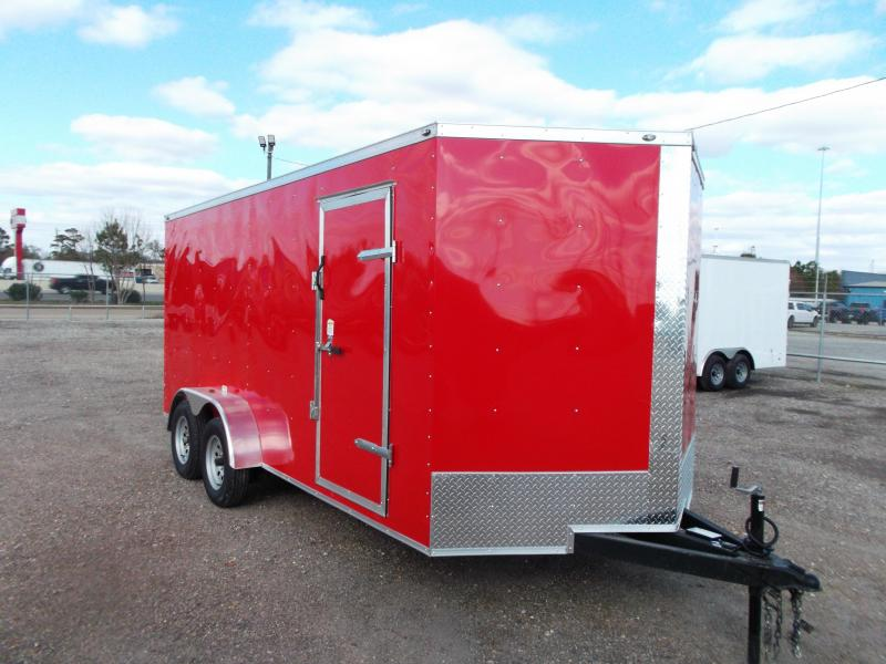 "2020 Texas Select 7x16 Tandem Axle Cargo Trailer / Enclosed Trailer / Ramp / 6'6"" Interior / Side Door / LEDs / RED"