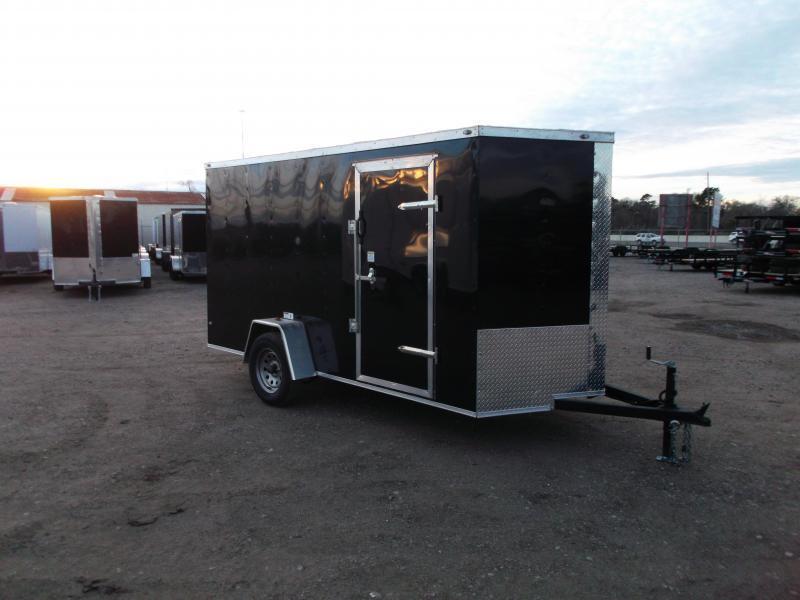 "2021 Texas Select 6x12 Single Axle Cargo Trailer / Enclosed Trailer / 6'3"" Interior / Ramp / Side Door / LEDs / CHARCOAL GRAY"