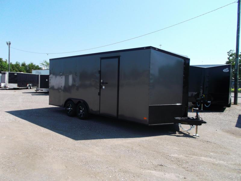 SPECIAL - 2021 Covered Wagon Trailers 8.5x20 Tandem Axle Cargo / Enclosed Trailer / Race Trailer / 7ft Interior / 5200# Axles / Black Out / Charcoal Gray Exterior / Slant V-nose / Mags