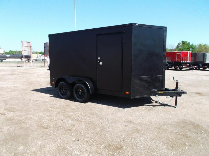 2021 Covered Wagon Trailers 7x12 Tandem Axle Motorcycle Trailer / Cargo Trailer / Ramp / LEDs / Black Out Package / Black Powder Coat Semi-Screwless Exterior