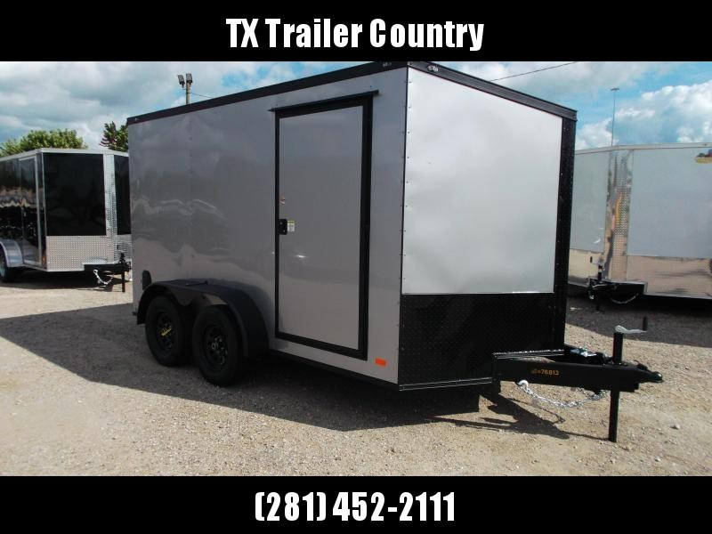 2022 Covered Wagon Trailers 7x12 Tandem Axle Motorcycle Trailer / Cargo Trailer / Ramp / LEDs / Silver Semi Screwless Exterior / Slant V-nose / Black Out Package