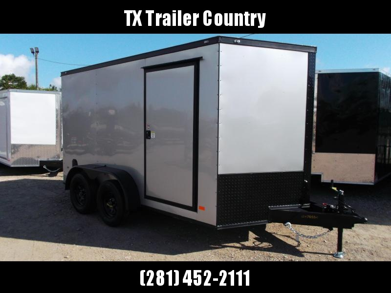 2022 Covered Wagon Trailers 7x12 Tandem Axle Motorcycle Trailer / Cargo Trailer / Ramp / LEDs / .030 Silver Semi Screwless Exterior / V-nose / Black Out Package