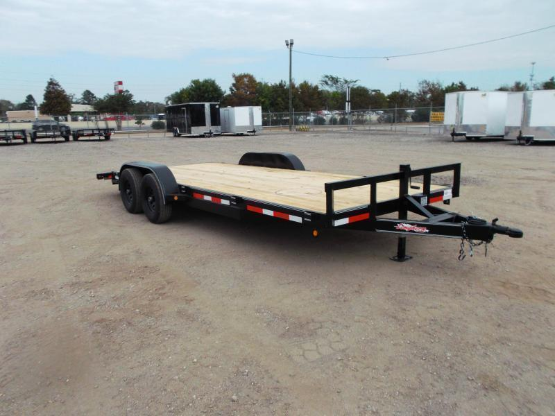 2021 Longhorn Trailers 83x20 Tandem Axle 10K Car Hauler / Racing Trailer / Flat Deck / 5200# Axles / 7K Jack / 2ft Dovetail / 5ft Ramps