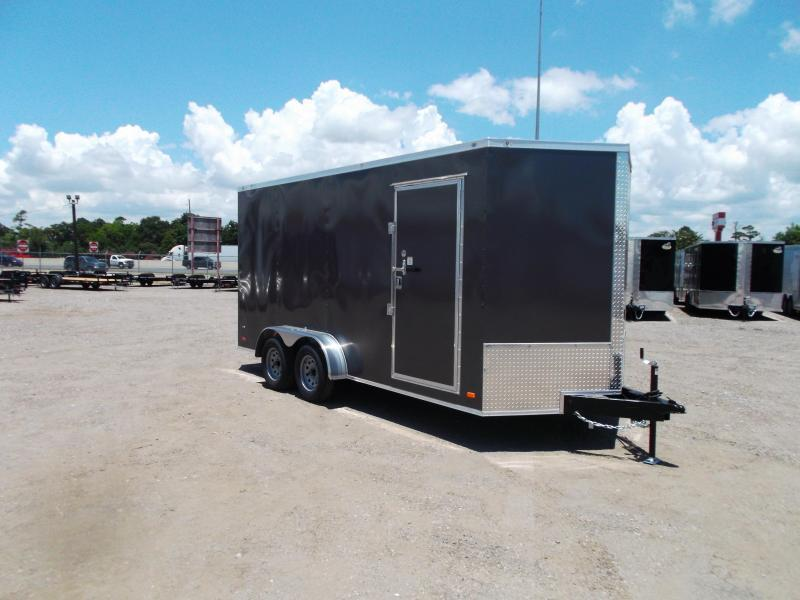 "2021 Covered Wagon Trailers 7x16 Tandem Axle Cargo Trailer / Enclosed Trailer / 6'6"" Interior / Ramp / RV Door / LEDs / CHARCOAL GRAY Semi-Screwless Exterior"