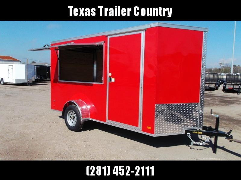 """2021 Covered Wagon Trailers 6x12 Single Axle Concession Trailer / Vending Trailer / Cargo Trailer / 6'6"""" Interior Height / Ramp / RV Side Door / LEDs / Red Powder Coated Semi-Screwless Exterior / 3x6 Concession Window"""