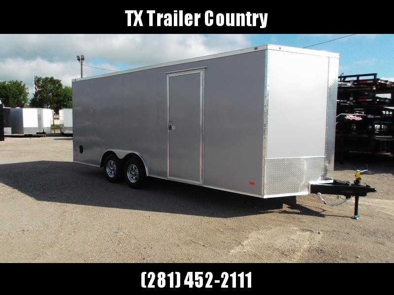 2022 Covered Wagon Trailers 8.5x20 Tandem Axle Cargo / Enclosed Trailer / 7ft Interior Height / 5200# Axles / Ramp / RV Side Door / LEDs / .080 Silver Heavy Duty Poly Core Exterior Skin / Semi-Screwless Exterior