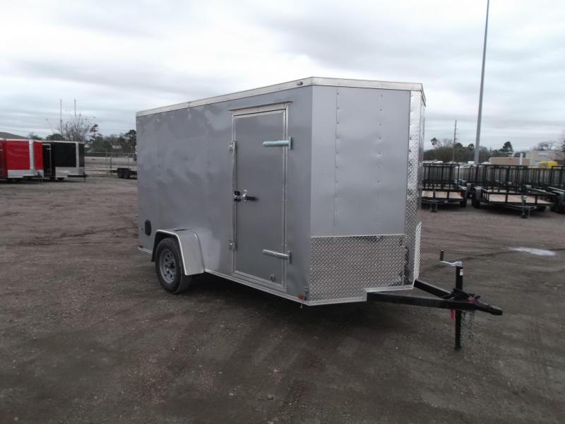 2021 Prime 6x12 Single Axle Cargo Trailer / Enclosed Trailer / 6ft Interior Height / Ramp / Side Door / LEDs / Silver Exterior