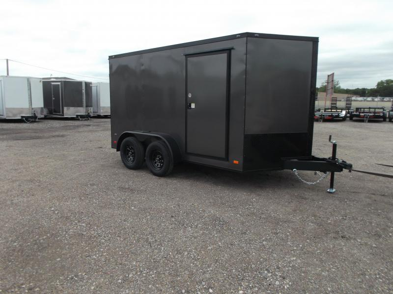 2021 Covered Wagon Trailers 7x12 Tandem Axle Motorcycle Trailer / Cargo Trailer / Ramp / LEDs / Charcoal Gray Semi-Screwless Exterior / Black Out Package