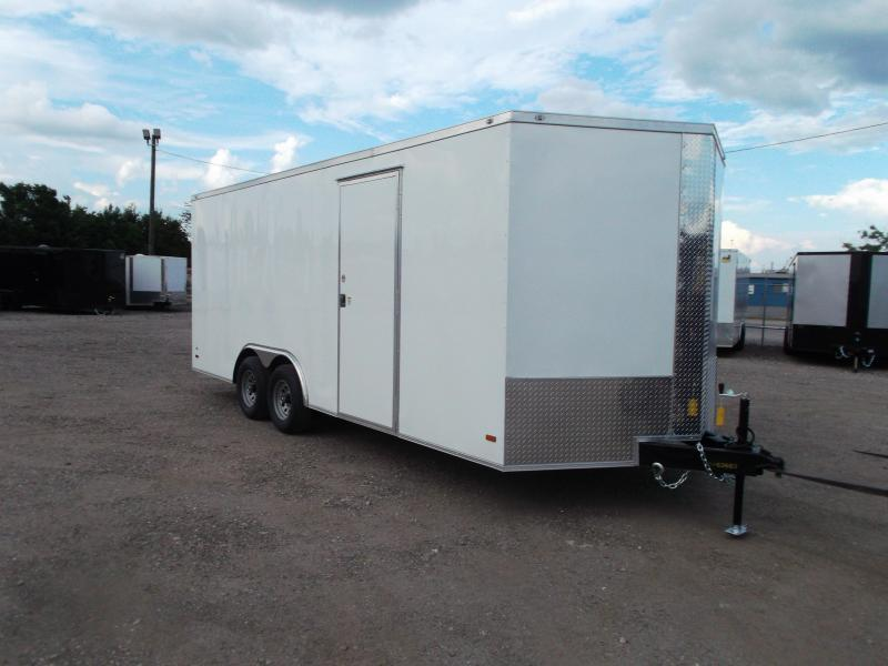 2021 Covered Wagon Trailers 8.5x20 Tandem Axle Cargo / Enclosed Trailer / 7ft Interior Height / 3500# Axles / Ramp / RV Side Door / LEDs / SILVER Semi-Screwless Exterior