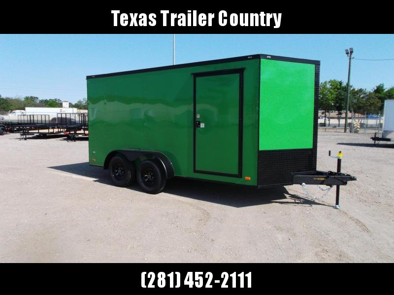 """2021 Covered Wagon Trailers 7x14 Tandem Axle Cargo Trailer / Enclosed Trailer / 6'3"""" Interior / Ramp / LEDs / Green Semi-Screwless Exterior / Black Out Package"""