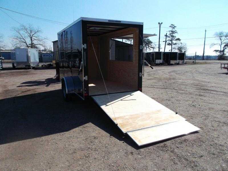 "2021 Covered Wagon Trailers 6x12 Single Axle Concession Trailer / Vending Trailer / Cargo Trailer / 6'6"" Interior Height / Ramp / RV Side Door / LEDs / Black Semi-Screwless Exterior / 3x6 Concession Window"