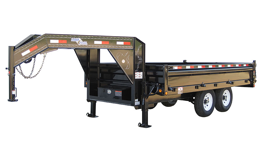 "2014 Load Trail 96"" X 16' Tandem Axle Gooseneck Deck Over Dump Trailer (with scissor lift)"