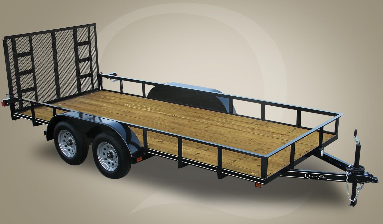 "Quality Trailers 77"" x 18' Tandem Axle Economy Series Utility Trailer (One Brake Axle) 7K"
