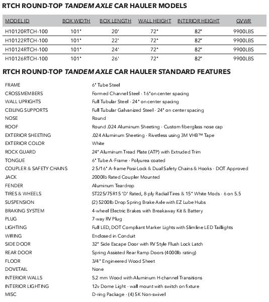 2019 H and H Trailer 101X24 HH R-TOP CARHAUL VNOSE 10K CARGO