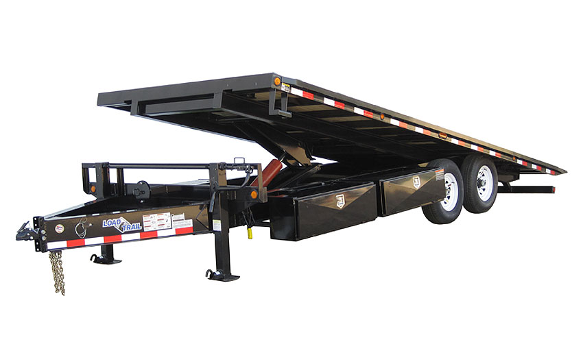 "2017 Load Trail 102"" X 22' Pintle Hook Equipment Tilt Deck   2-7,000 lb Axles w/Hoist"