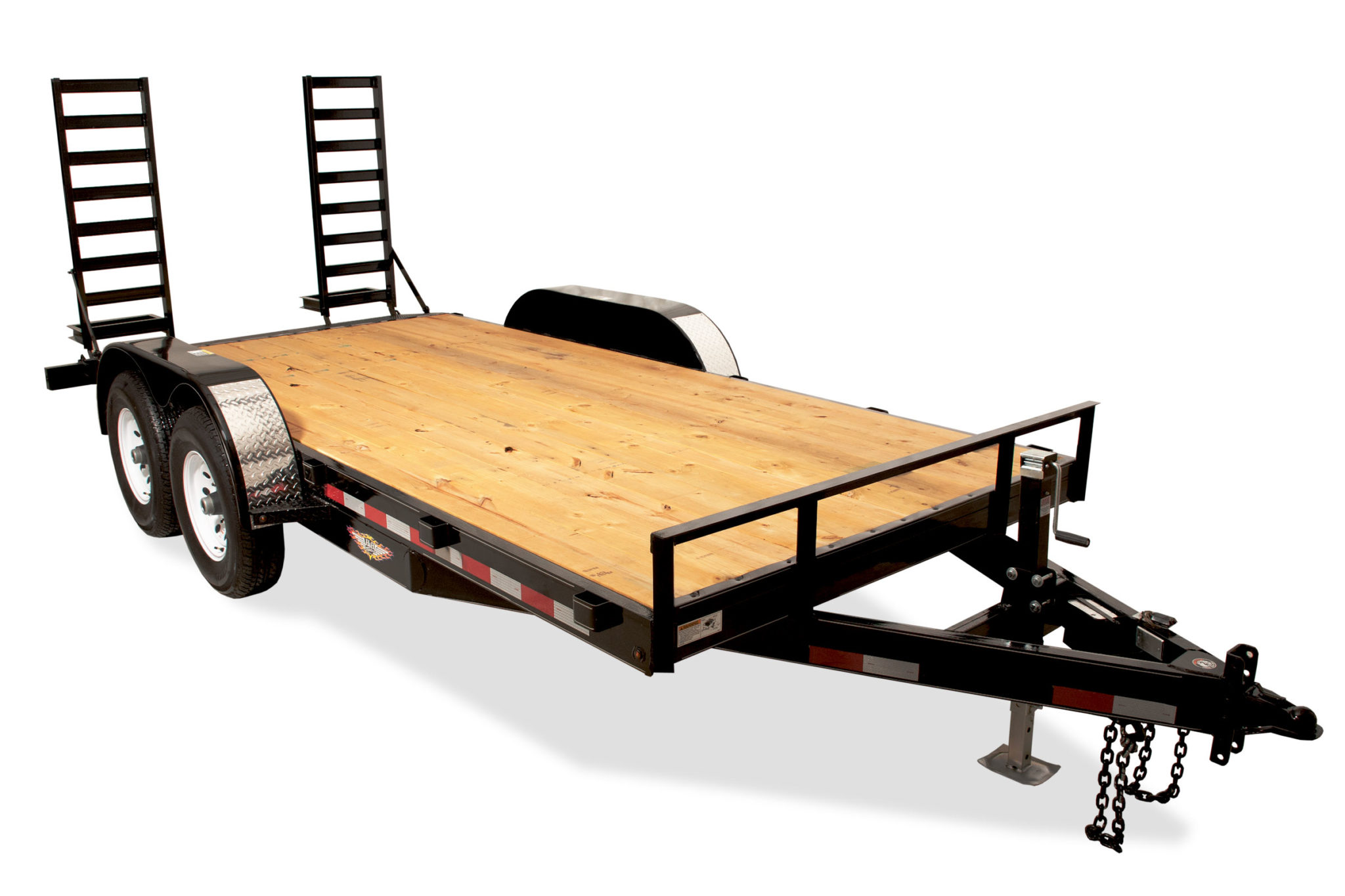 "H&H GENERAL DUTY CAR HAULER TANDEM AXLE H8216+2GDFD-070 82""X16'+2' 7K"