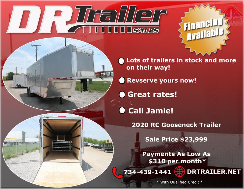 2020 RC Trailers 7' X 28 GOOSENECK ENCLOSED TRAILER Enclosed Cargo Trailer