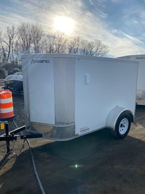 2021 Arising 5' x 8' White  Enclosed Cargo Trailer w/ Spare Tire and Mount