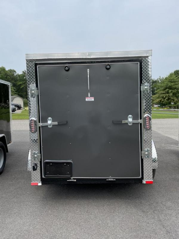 2021 Arising 5' x 8' Charcoal Enclosed Cargo Trailer w/Spare Tire and Mount