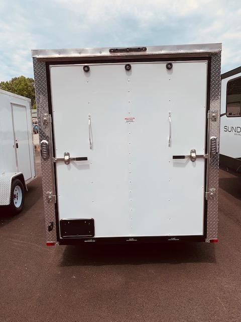 2021 Arising 6' x 12' Soft V-Nose White Single Axle Enclosed Cargo Trailer