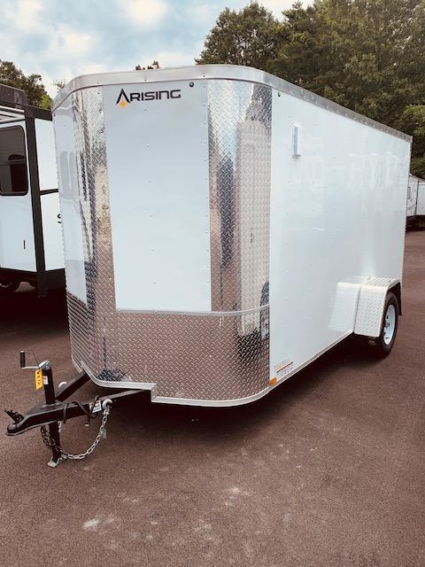 2021 Arising 6' x 12' Soft V-Nose White Single Axle Enclosed Cargo Trailer