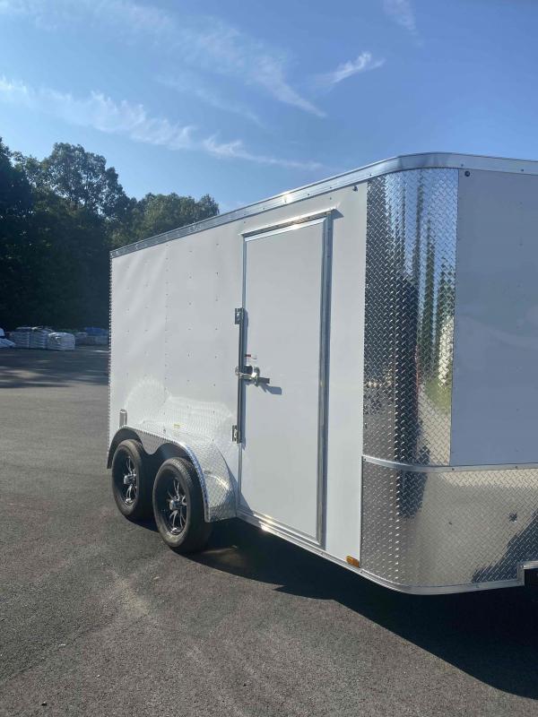 2021 Arising 6' x 12' Soft V-Nose White Tandem Axle Enclosed Cargo Trailer