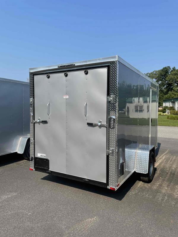 2021 Arising 6' X 12' Silver Mist Soft V-Nose Enclosed Cargo Trailer