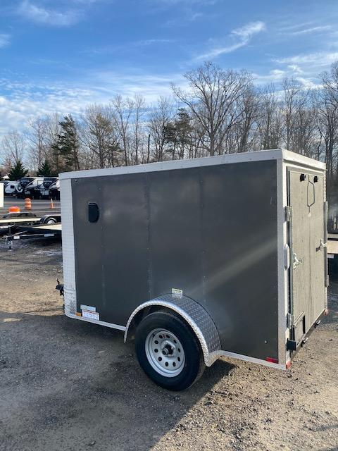 2021 Arising 5' x 8' Charcoal Enclosed Cargo Trailer w/ Spare Tire and Mount