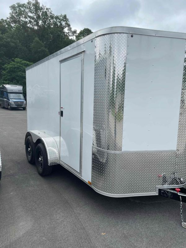 2021 Arising 7'x12' White Enclosed Cargo Trailer