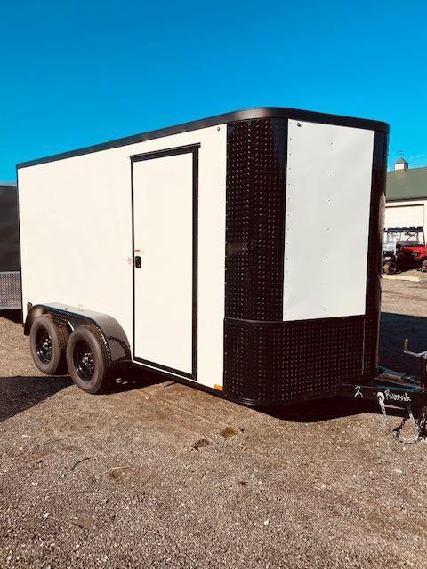 2021 Arising 7'x12' White w/Blackout Package Enclosed Cargo Trailer