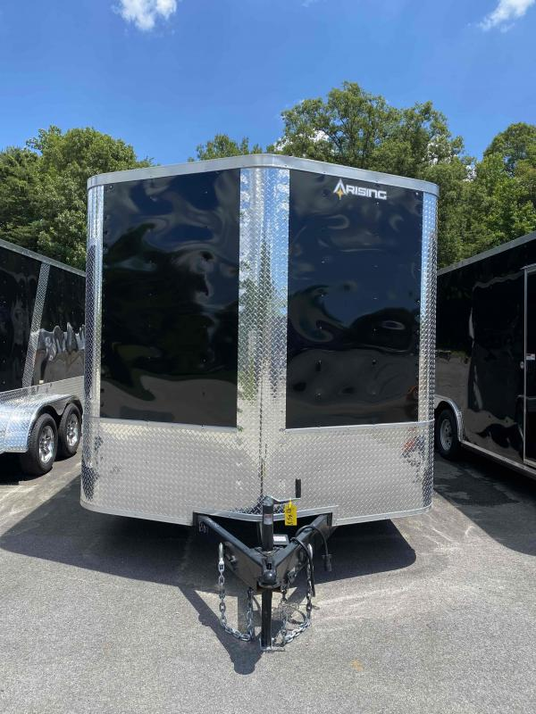 """2021 Arising 7 x 18'  Black Soft Nose Tandem Axle Enclosed Cargo Trailer 7'6"""" Interior Height"""