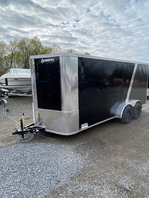 2020 Arising 7' x 16' Two Tone Black and Charcoal V-Nose Enclosed Trailer