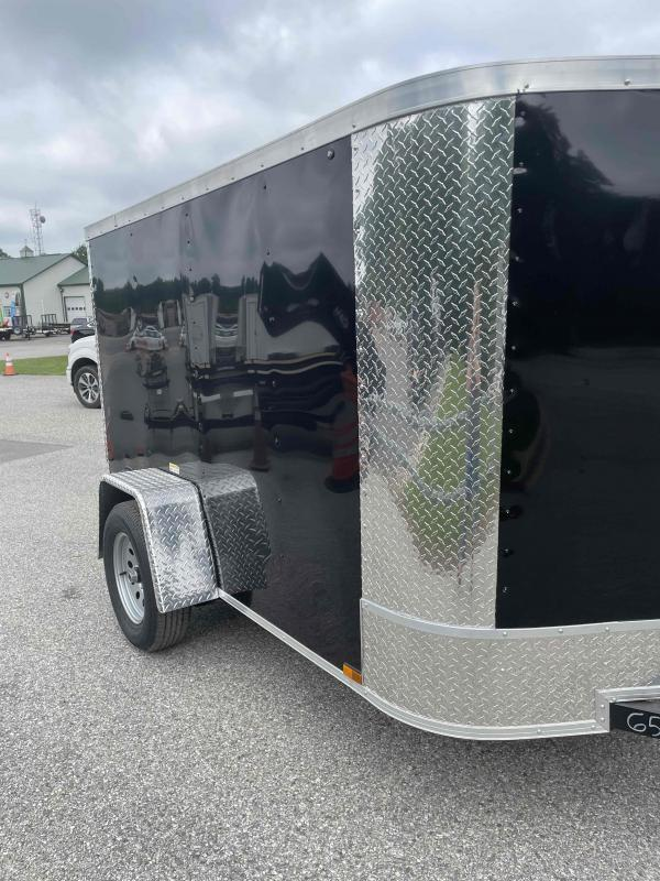 2021 Arising 5' x 8' Black Enclosed Cargo Trailer w/Spare Tire and Mount