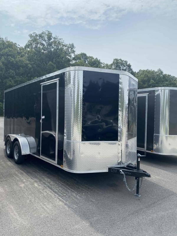 2021 Arising 7' X 16' Tandem Axel Black Enclosed Cargo Trailer