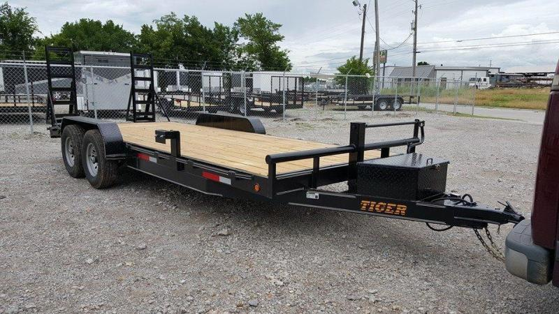 2020 Tiger 83 x 22 Car Hauler Flatbed Trailer Wood Floor Stand Up Ramps - TULSA OK