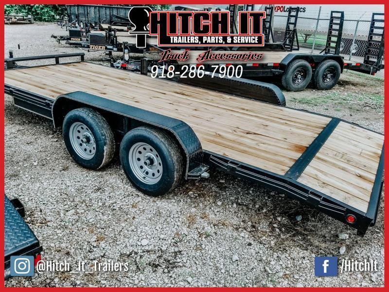 2020 Tiger 83 x 18 Flatbed Car Hauler Trailer Brakes 3500k axles slide in ramps