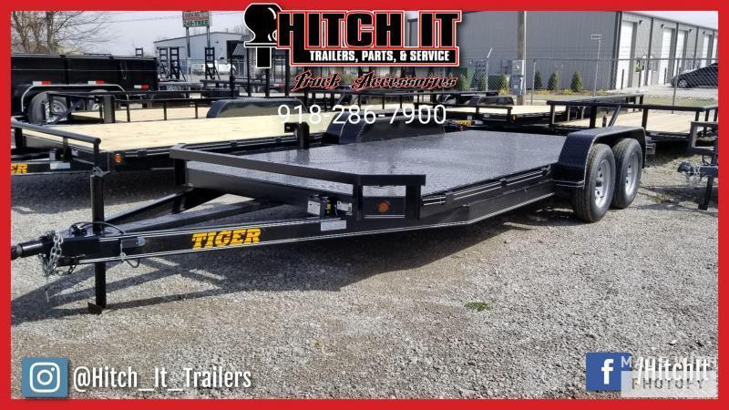 2020 Tiger  83 x 18 Steel Floor Flatbed Car Hauler Trailer  - TULSA OK