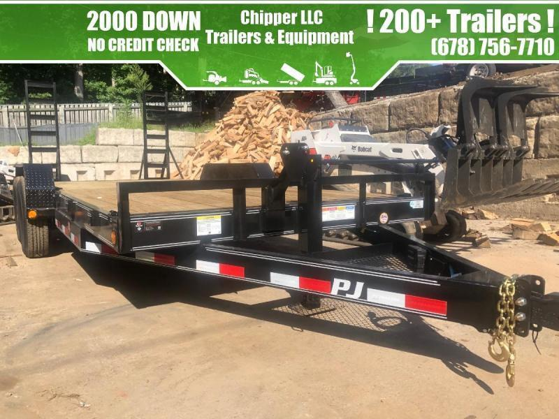 2021 PJ 7x18 14k Equipment Trailer Fold Up Ramps